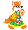 Fox mushroomer vector image vector image