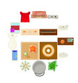 furniture plan icons set cartoon style vector image