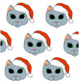 grey cat with red christmas hat vector image