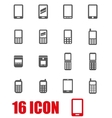 grey mobile phone icon set vector image vector image