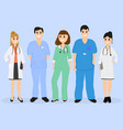 Group of doctors in a hospital flat design