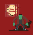 halloween frankenstein standing under the moon vector image vector image