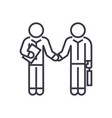 hand shaking businessmen agreement linear icon vector image vector image