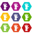 hand showing five fingers icon set color vector image vector image