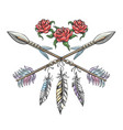 indian arrows with feathers and rose flowers vector image vector image