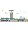 international airport banner character traveler vector image vector image