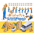 isometric set create your character courier vector image vector image
