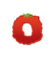 letter o strawberry font red berry lettering vector image vector image
