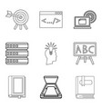 magazine icons set outline style vector image vector image