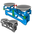 mechanical weighing scales with special cups vector image
