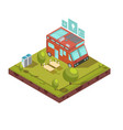 mobile home isometric composition vector image