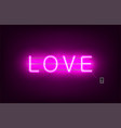 neon sign the word love on dark background vector image vector image