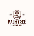 palm tree logo template isolated in white vector image vector image
