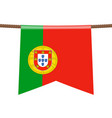 portugal national flags hangs on rope vector image vector image