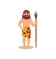 prehistoric caveman in animal skin holding spear vector image vector image