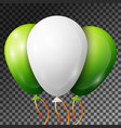 realistic white and green balloons with ribbons vector image