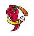 red chili pepper baseball mascot vector image