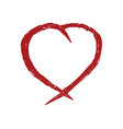 red heart hand drawn icon vector image