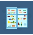 Refrigerator With Food Icons Flat Style vector image