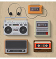 retro music player icon set vector image