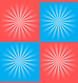 set of retro ray backgrounds of blue and red vector image vector image