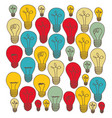 silhouette of set light bulbs multicolor vector image
