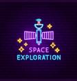 space exploration neon label vector image vector image