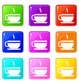tea cup and saucer icons 9 set vector image vector image