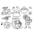 tea time set kettle natural organic product vector image