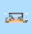 teachers near digital school building in web vector image