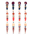 three pretty standing girls under different angles vector image