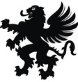 winged lion white black vector image vector image