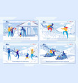 winter family tourism and travel advertising set vector image