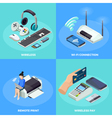 Wireless Technology 4 isometric Icons Square vector image vector image
