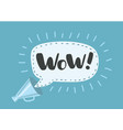 wow - message bubble speech bullhorn vector image