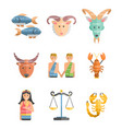 zodiac signs flat set of horoscope symbols star vector image