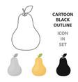pear icon cartoon singe fruit icon vector image