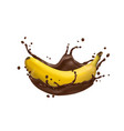 3d banana and chocolate splash icon vector image