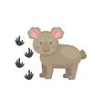 adorable koala bear and his footprints wild vector image vector image