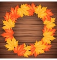 Autumn Leaves and wood backdrop vector image