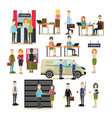 bank people flat icon set vector image vector image
