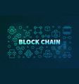 block chain colored banner in outline style vector image vector image