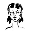 brush grunge style simple portrait ink handmade vector image vector image