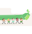 cartoon ecologist people marching and protesting vector image vector image