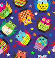 Cartoon owls background vector image vector image