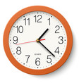 classic round wall clock in orange body isolated vector image vector image