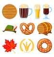 colorful cartoon 10 oktoberfest elements set vector image vector image