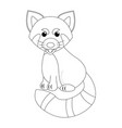 colorless funny cartoon red panda vector image