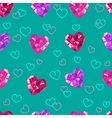 Crystal hearts valentine day pattern vector image vector image