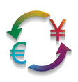 currency exchange sign euro and japan yen vector image